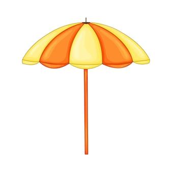 Ombrellone in stile cartone animato isolato su sfondo bianco.