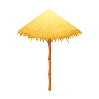 Ombrellone da spiaggia in paglia e bambù in stile cartone animato