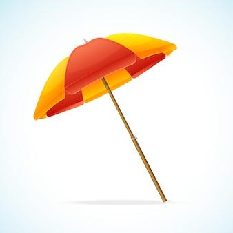 Ombrellone da spiaggia rosso giallo isolato su uno sfondo bianco.