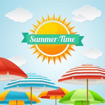 Ombrellone da spiaggia summer card. il concetto di un viaggio divertente in una grande azienda