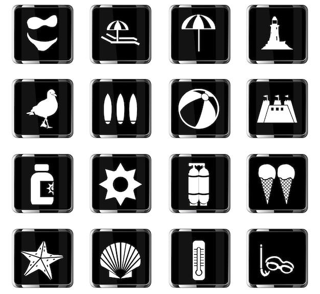 Icone vettoriali da spiaggia per il design dell'interfaccia utente