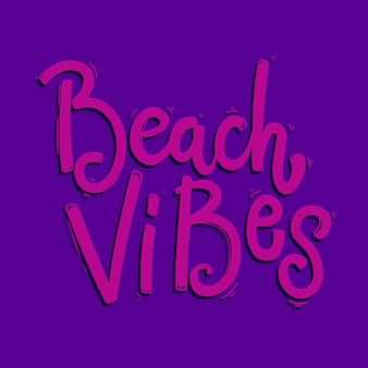 Vibrazioni da spiaggia. frase scritta per cartoline, striscioni, volantini. illustrazione vettoriale