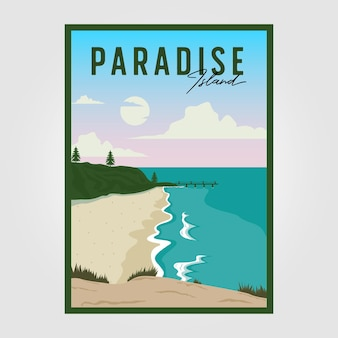 Disegno di illustrazione vettoriale vintage da spiaggia, modello di poster di viaggio surf