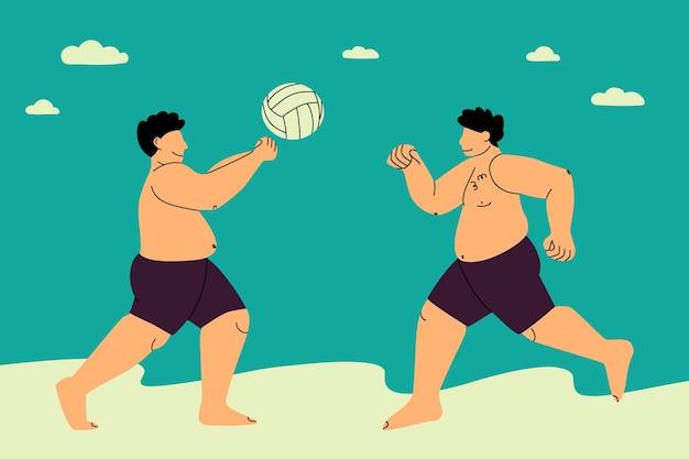 Beach volley uomini grassi e felici giocano a palla sulla spiaggia ragazzi taglie forti in costume da bagno