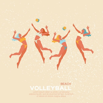 Gioco sportivo di beach volley. giovane donna con la palla.