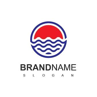Modello di progettazione del logo dell'onda della spiaggia