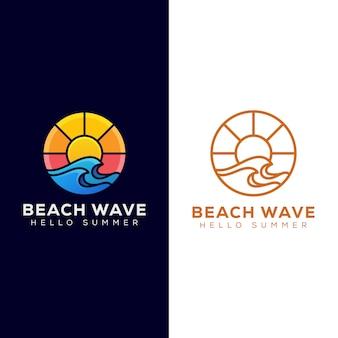 Onda da spiaggia con logo sunrise, design logo estate e versione logo line art