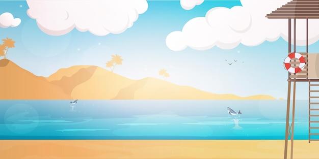 Spiaggia con postazione di salvataggio. illustrazione estiva in stile cartone animato.