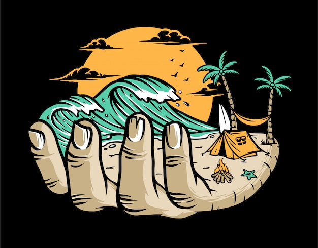 Spiaggia sulla tua mano illustrazione