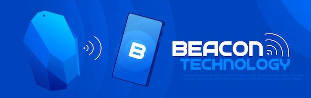 The beacon boom: uno striscione di tecnologia faro beacon strategia seo locale. un'illustrazione piatta.