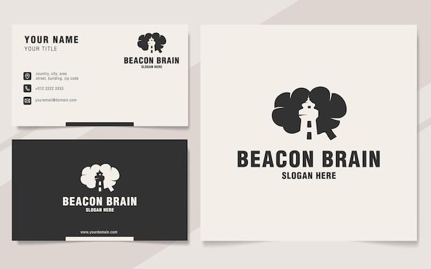 Modello di logo del cervello faro su stile monogramma