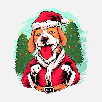 Illustrazione di natale del cane beagle premium vector