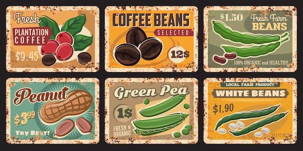 Segni di latta di fagioli, arachidi, caffè e piselli di cibo di fattoria e legumi