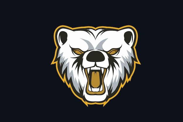 Bear logo mascotte arrabbiato per giochi sportivi elettronici