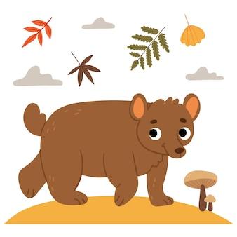 Orso sul prato d'autunnoillustrazione del libro foresta d'autunnocaduta sul prato