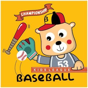 Porta il giocatore di baseball divertente cartone animato animale