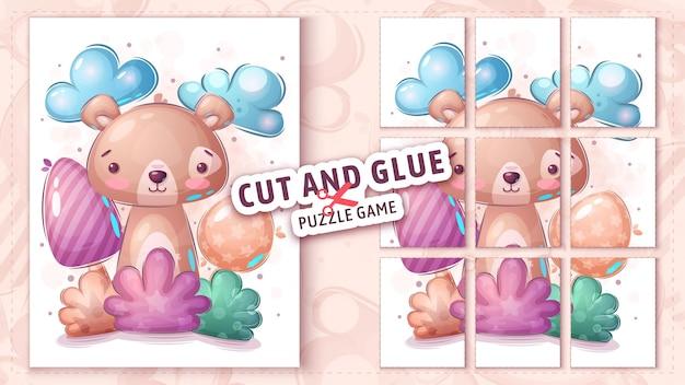 Bear in un gioco di puzzle tagliato e incollato