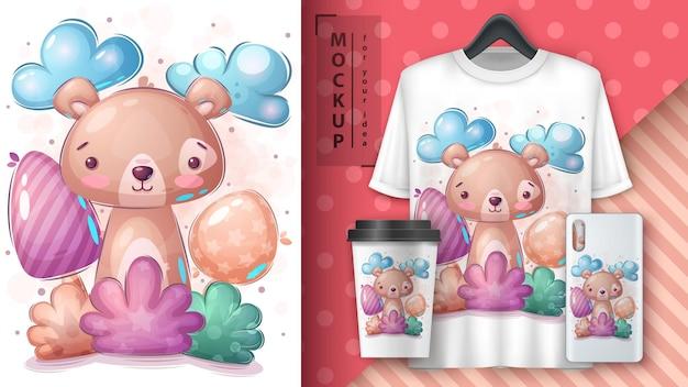 Poster e merchandising dell'orso nel cespuglio