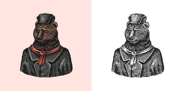 Orso personaggio in pelliccia animale alla moda in cappello russo disegnato a mano inciso vecchio monocromatico