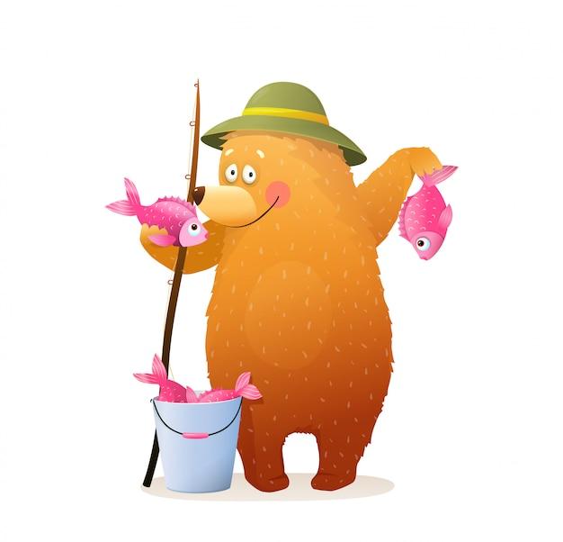Personaggio di pescatore di orso cucciolo con pesce cartoon