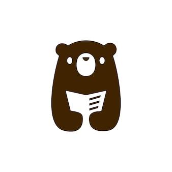 Cucciolo di orso, piccolo libro per bambini, leggere il giornale, spazio negativo, logo, icona, vettore, illustrazione