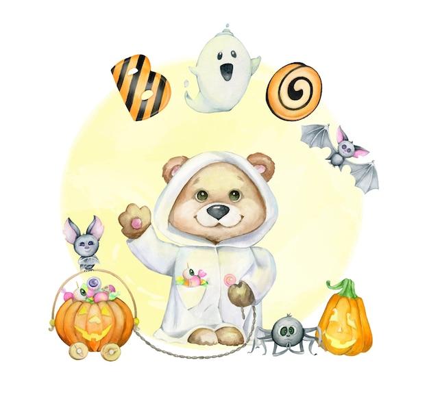 Cucciolo di orso, zucca con caramelle, pipistrelli, fischi di testo. clipart ad acquerello, per le vacanze, halloween, in stile cartone animato.