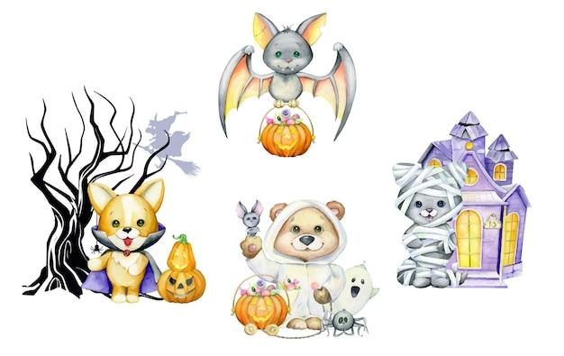 Cucciolo di orso, zucca con caramelle, pipistrelli, fischi di testo. acquerello halloween, in stile cartone animato.