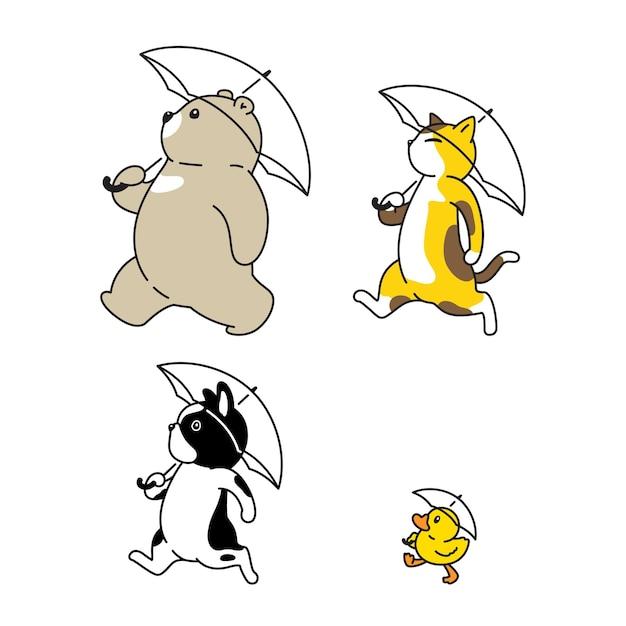 Orso cane gatto anatra ombrello piove personaggio dei cartoni animati
