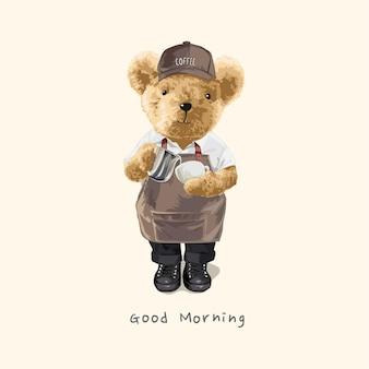 Barista bambola orso con illustrazione tazza di caffè