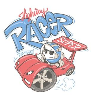Orso che guida un'auto disegnata a mano dei cartoni animati, per la maglietta del bambino o del bambino.