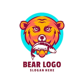 Vettore di disegno del logo di pesce orso