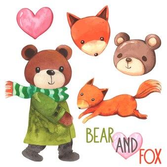 Cartone animato orso e volpe