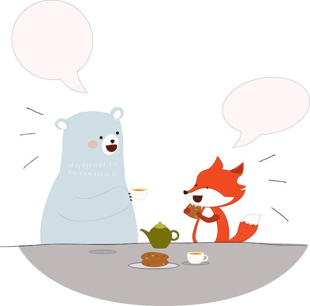 Orso e volpe parlano bevendo caffè