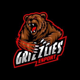 Orso grizzlies mascotte logo esport gaming