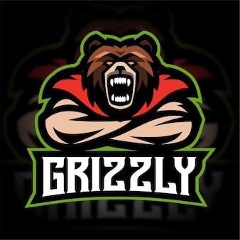 Logo di gioco della mascotte dell'orso grizzly