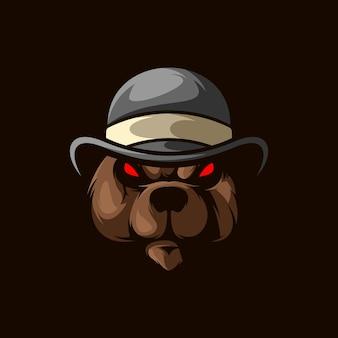 Disegno dell'illustrazione della mascotte del cappello dell'orso