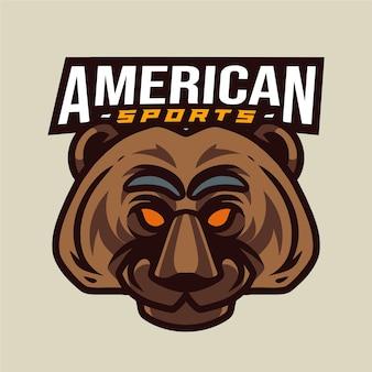 Logo di sport americano testa di orso