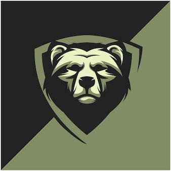 Logo della testa dell'orso per la squadra sportiva o esport.