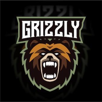 Logo di gioco mascotte testa d'orso