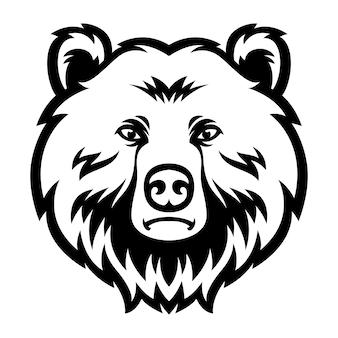 Testa dell'orso logo mascotte in bianco e nero