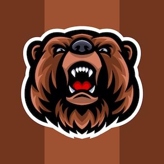 Logo mascotte testa d'orso