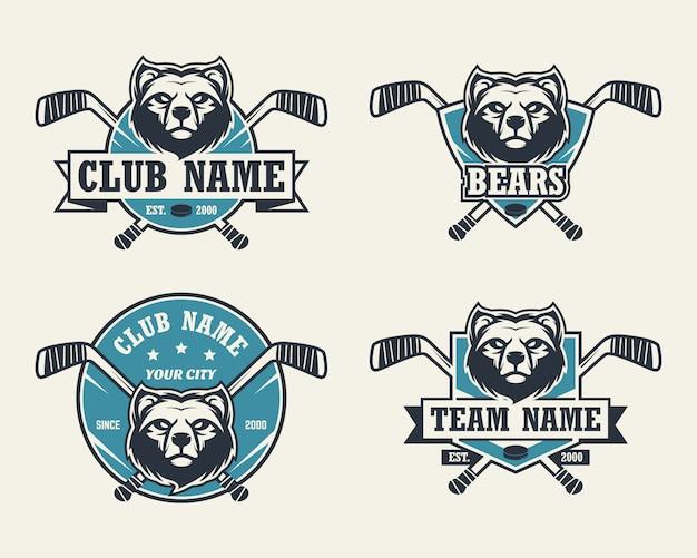 Logo sportivo testa d'orso. set di loghi di hockey.
