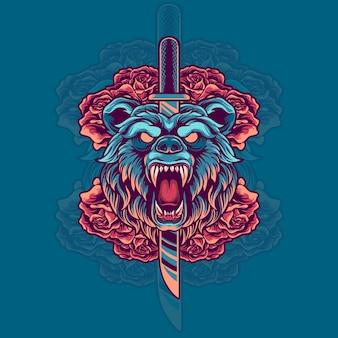 Testa di orso con illustrazione di coltello e rose