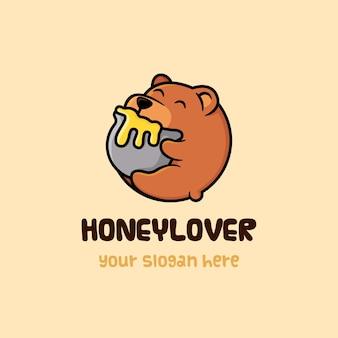 Modello di orso honey lover logo