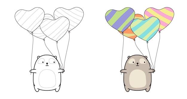 L'orso sta tenendo la pagina da colorare di palloncini cuore per i bambini