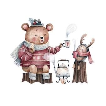 Orso e bambino che hanno tè insieme disegno ad acquerello