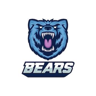 Bear logo design mascotte vettoriale