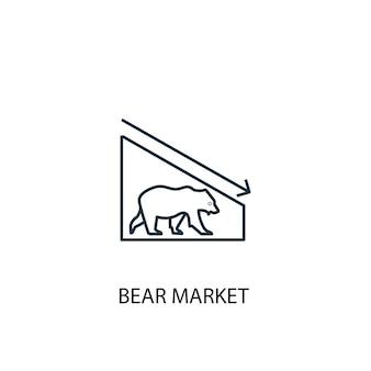 Icona della linea di concetto di mercato dell'orso. illustrazione semplice dell'elemento. disegno di simbolo di struttura del concetto di mercato dell'orso. può essere utilizzato per ui/ux mobile e web