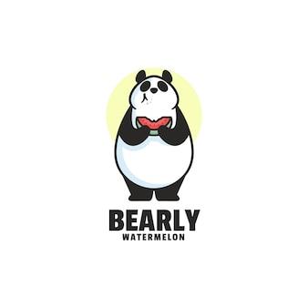 Modello di logo di stile cartoon mascotte orso