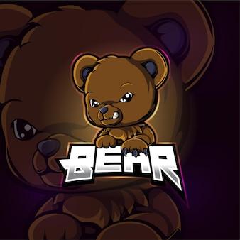 Disegno del logo esport mascotte dell'orso dell'illustrazione